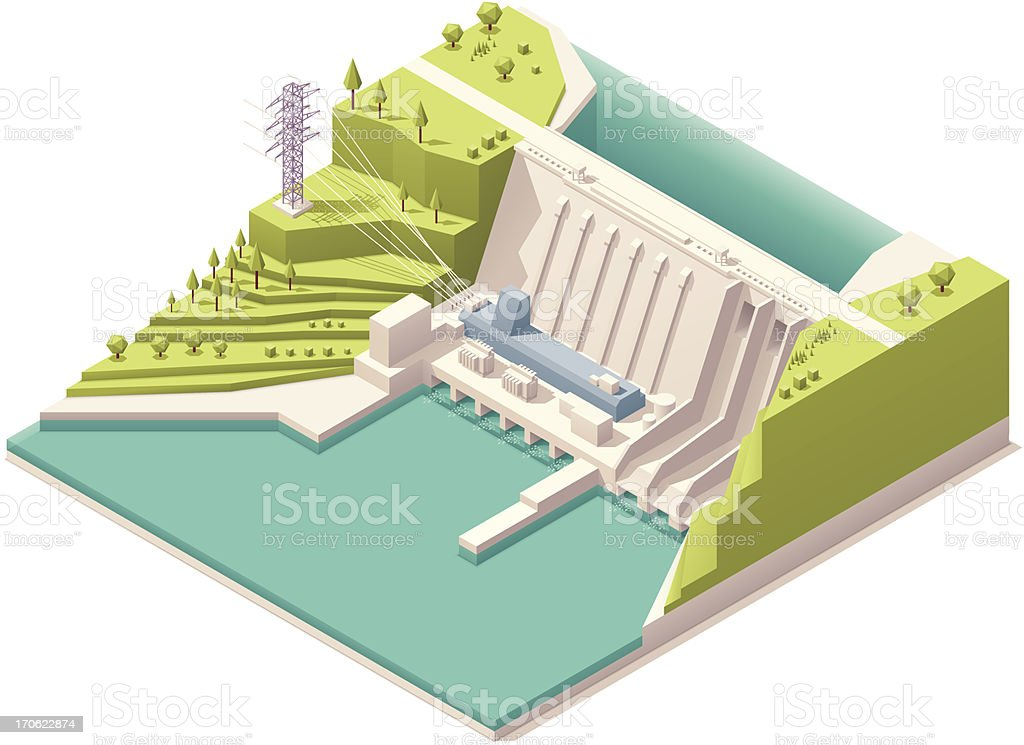 Isometric hydroelectric power station royalty-free stock vector art