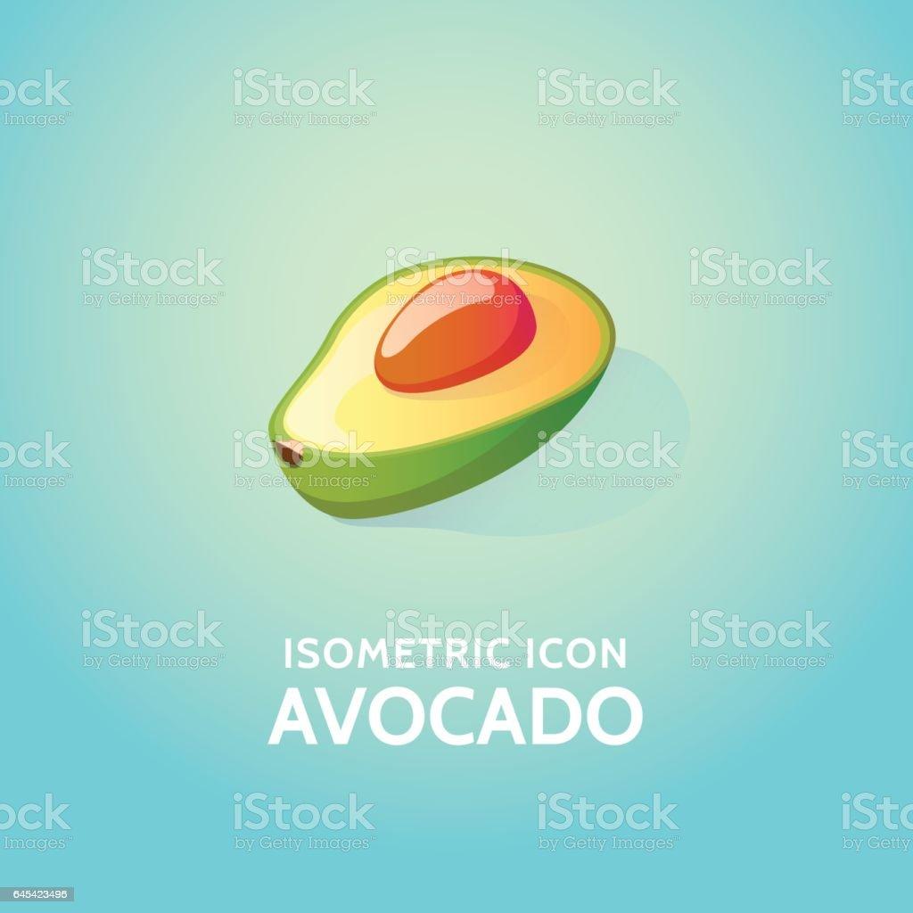 Isometric icon avocado vector art illustration