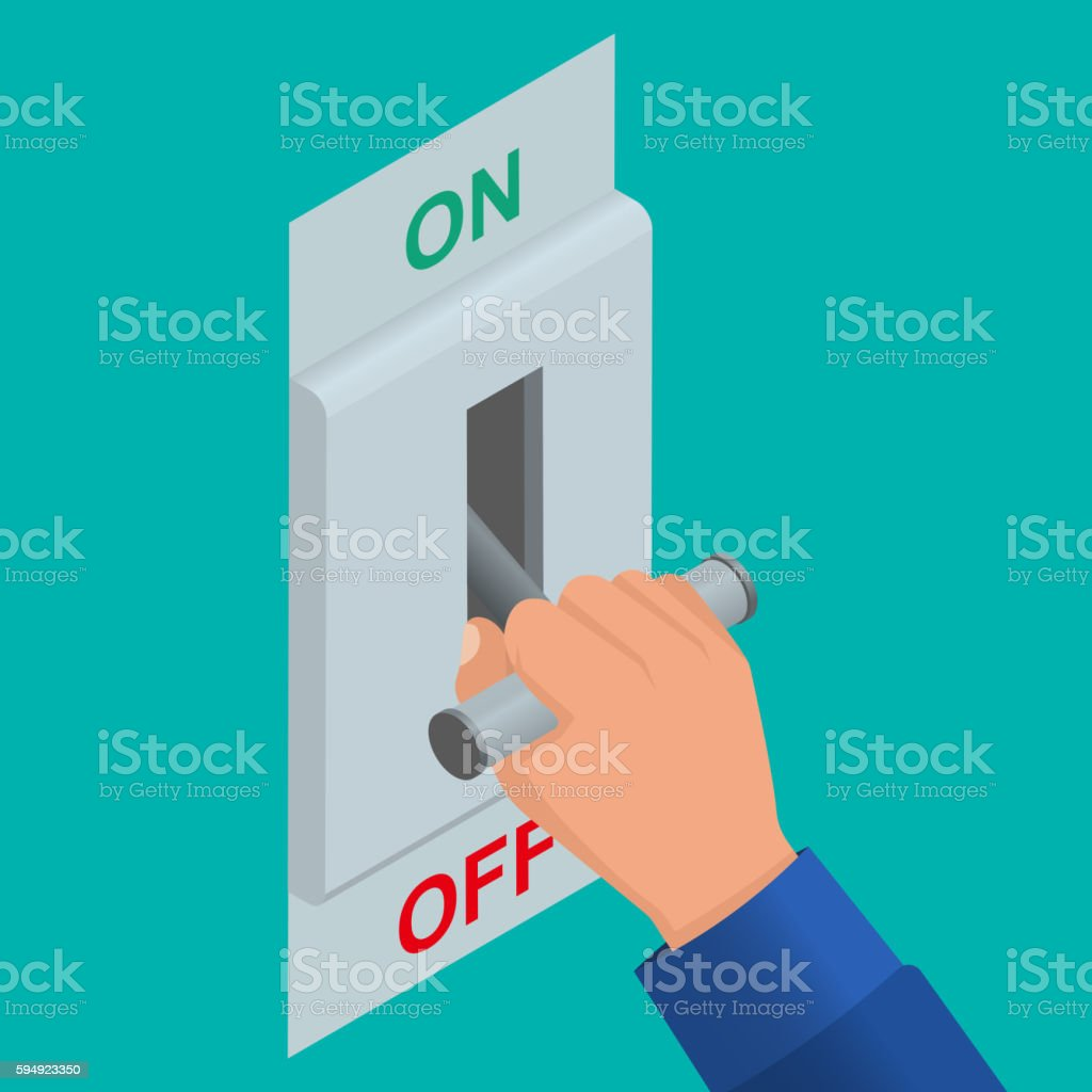 Isometric icon of electric knife switch vector art illustration