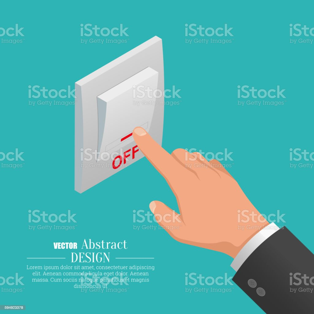 Isometric icon of electrical light wall switch vector art illustration