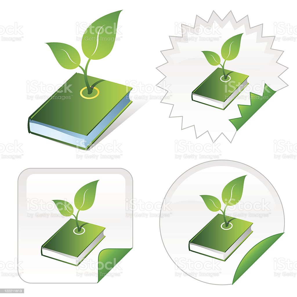 Isometric icon of green ecological book vector art illustration
