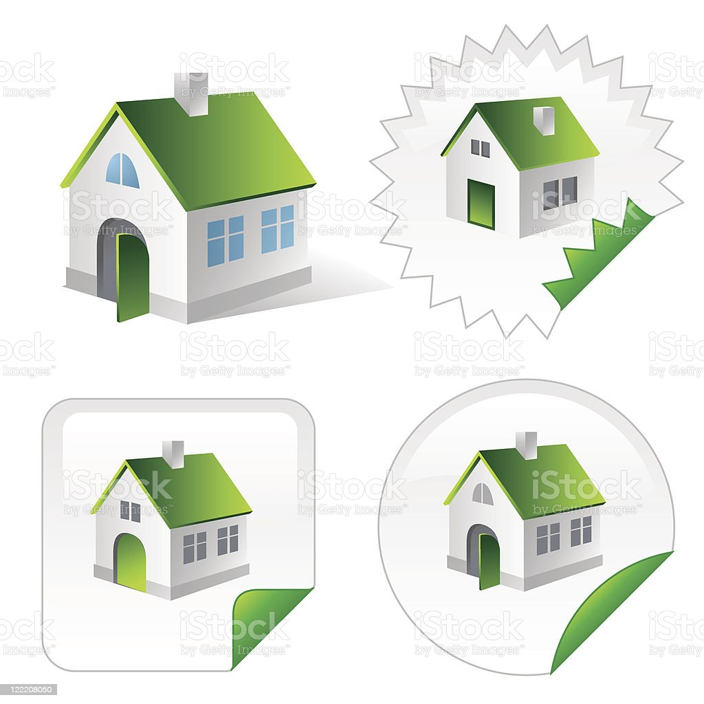 Isometric icon of green ecological house vector art illustration