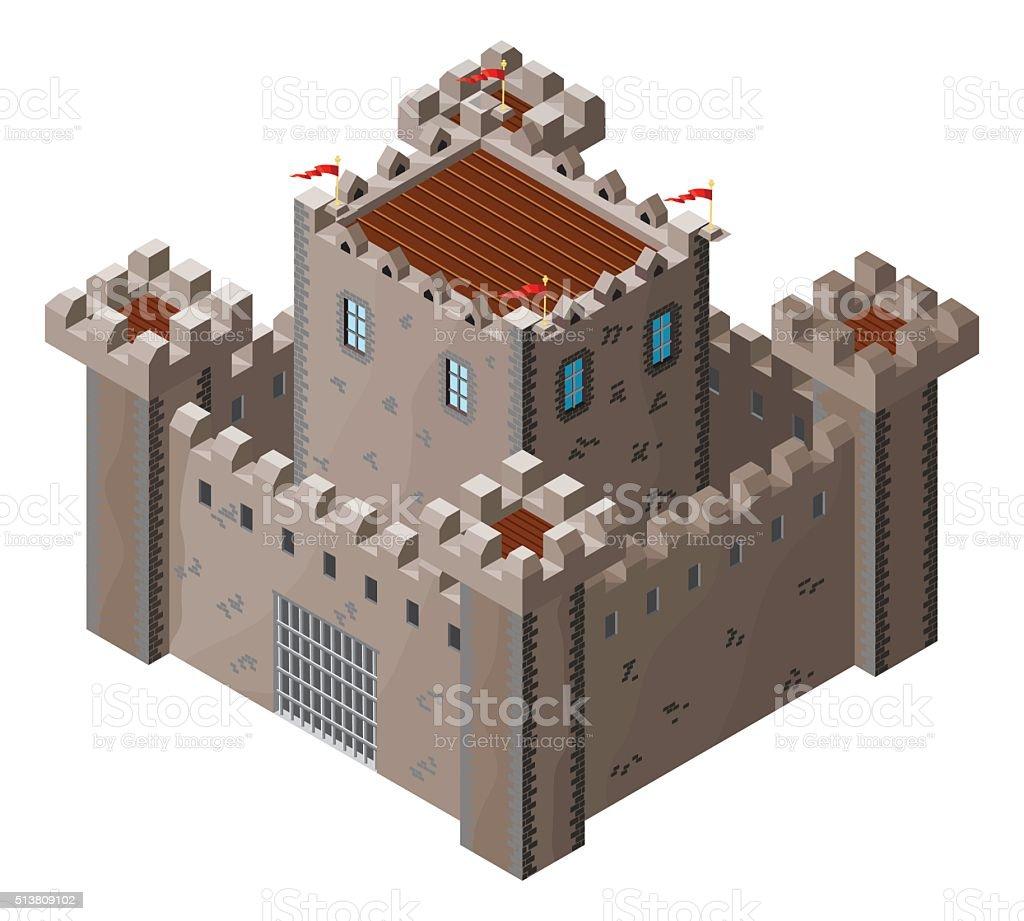 Isometric icon of medieval stone castle. Vector illustration. vector art illustration