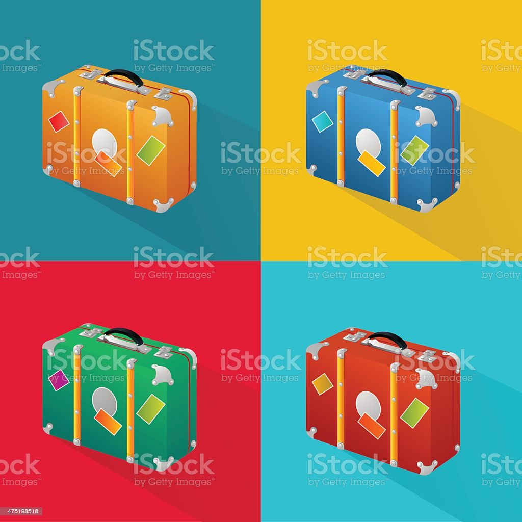 Isometric icon of suitcase in four colors vector art illustration