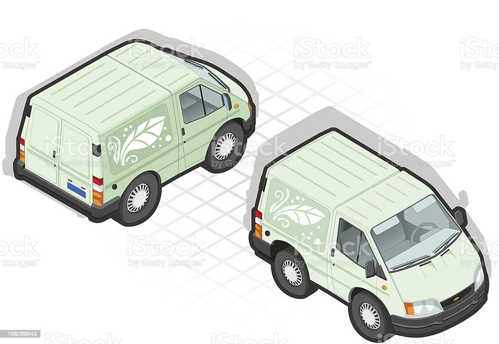 isometric iconized white van in two position royalty-free stock vector art