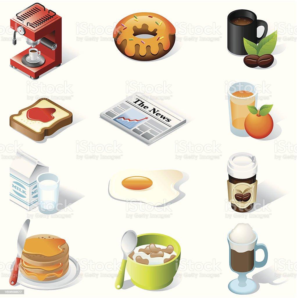 isometric icons, Breakfast vector art illustration