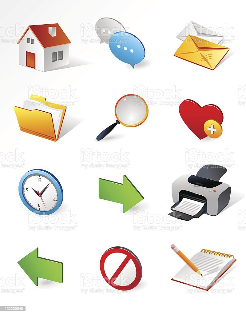 Isometric icons | Internet and web royalty-free stock vector art