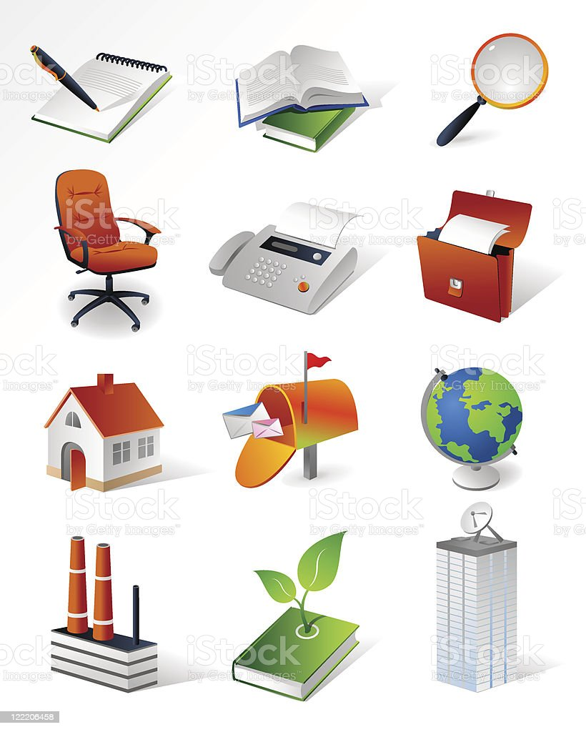 Isometric icons | Office royalty-free stock vector art