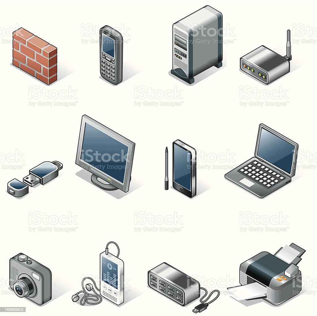 Isometric icons, Technology royalty-free stock vector art