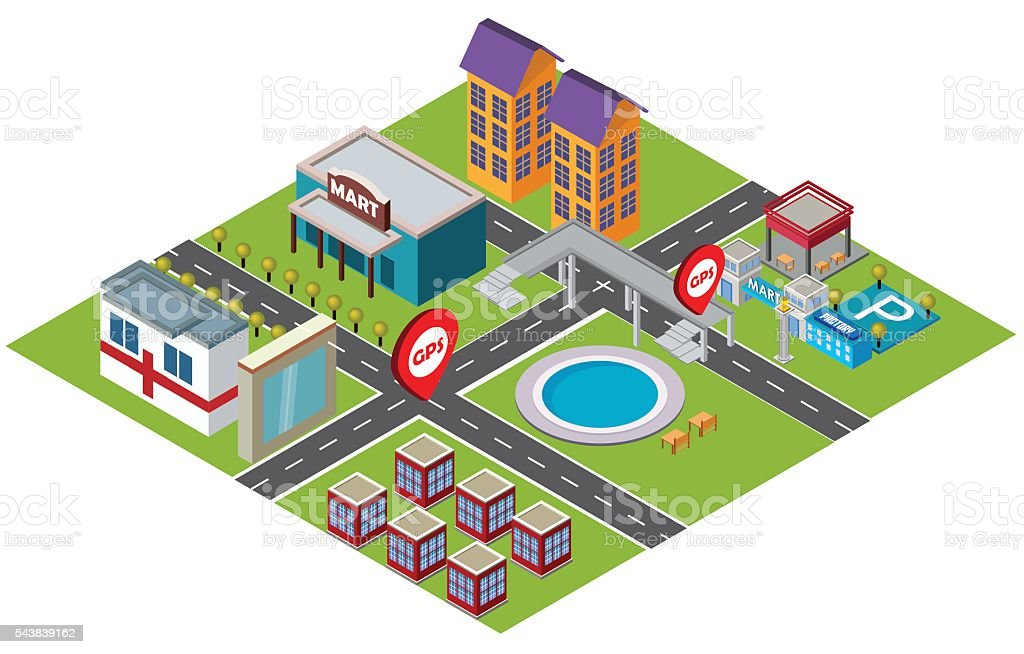 Isometric illustration - community life vector art illustration