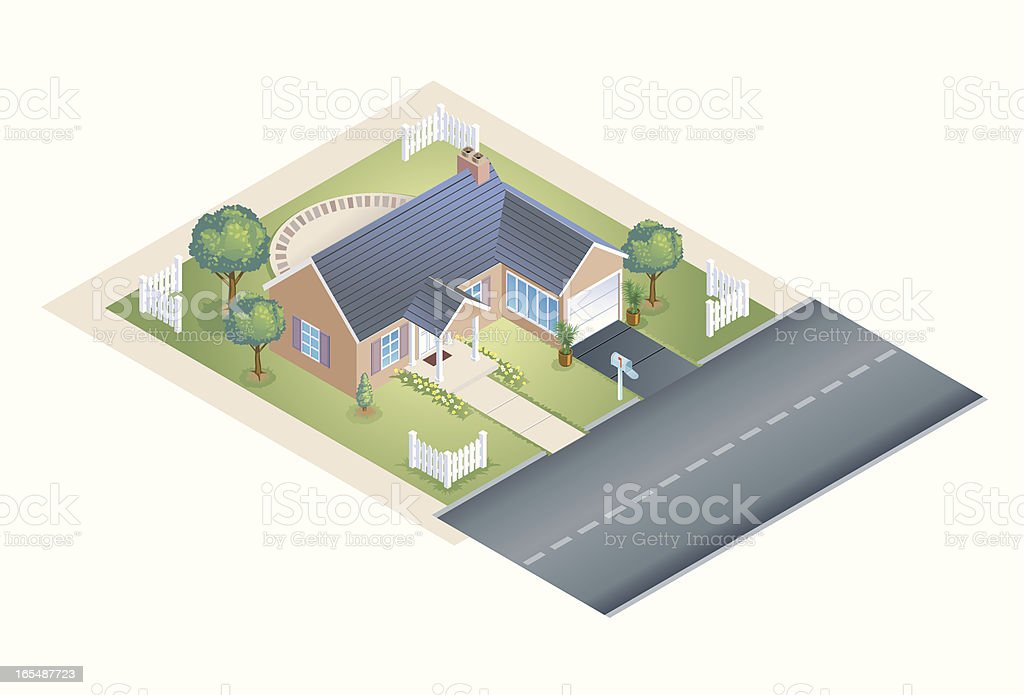 Isometric Illustration of House on Quiet Street royalty-free stock vector art