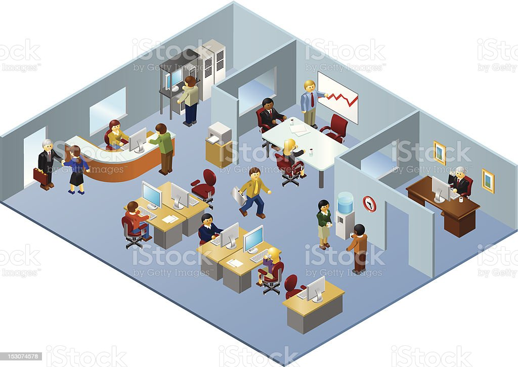 Isometric Illustration of People Working in Office Building vector art illustration