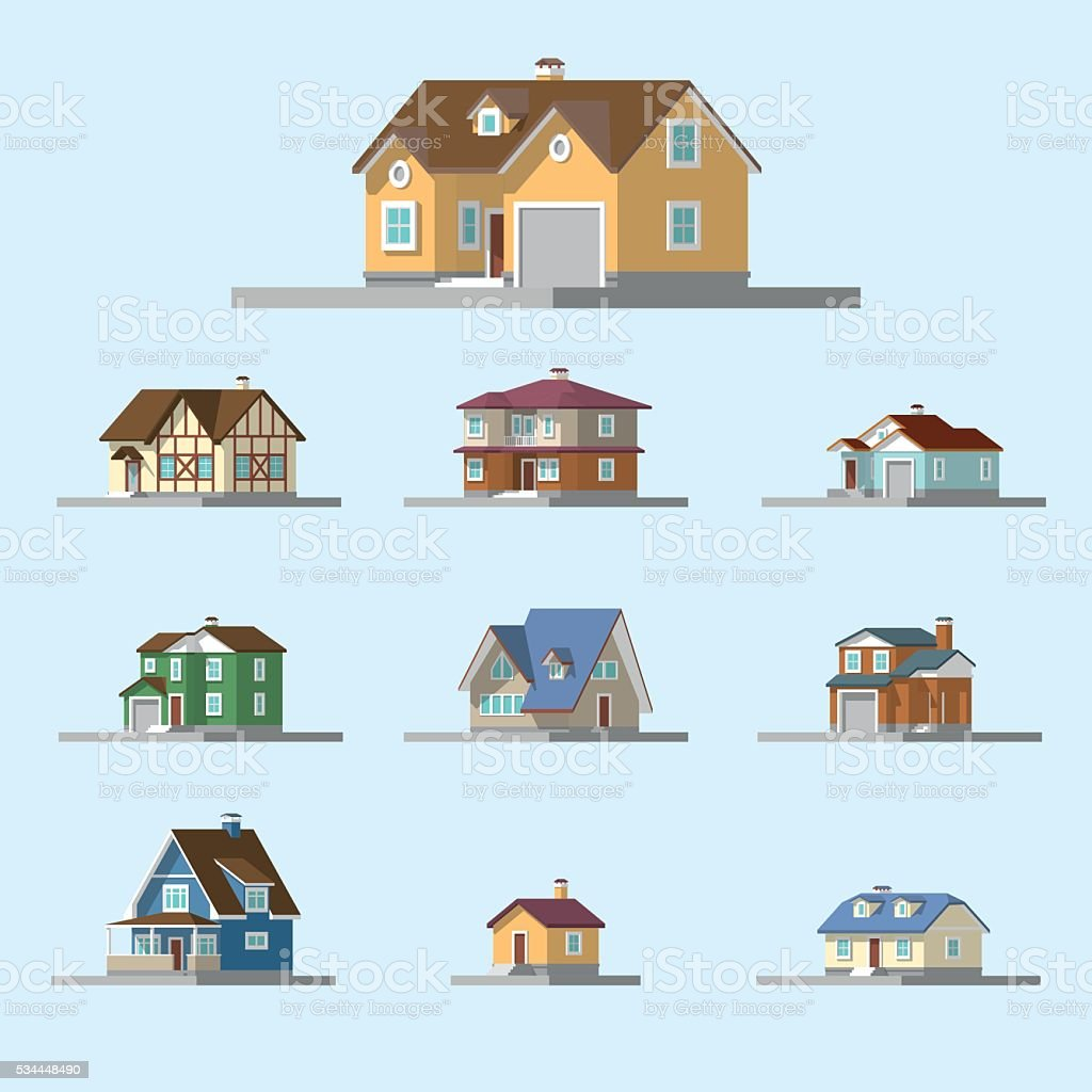 isometric image of a private house vector art illustration