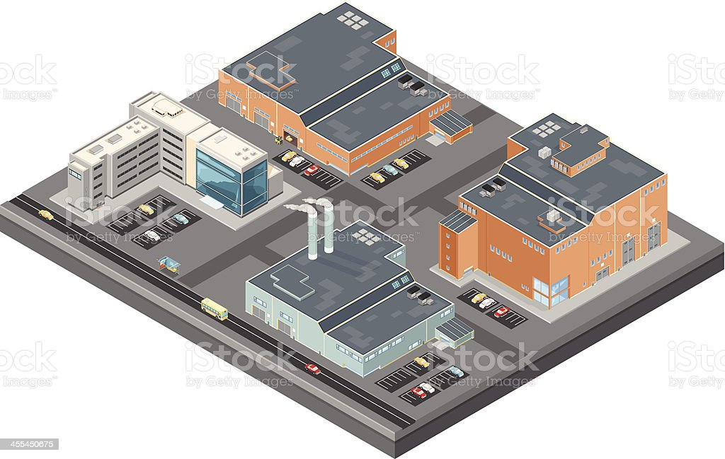 Isometric Industrial Buildings and offices royalty-free stock vector art