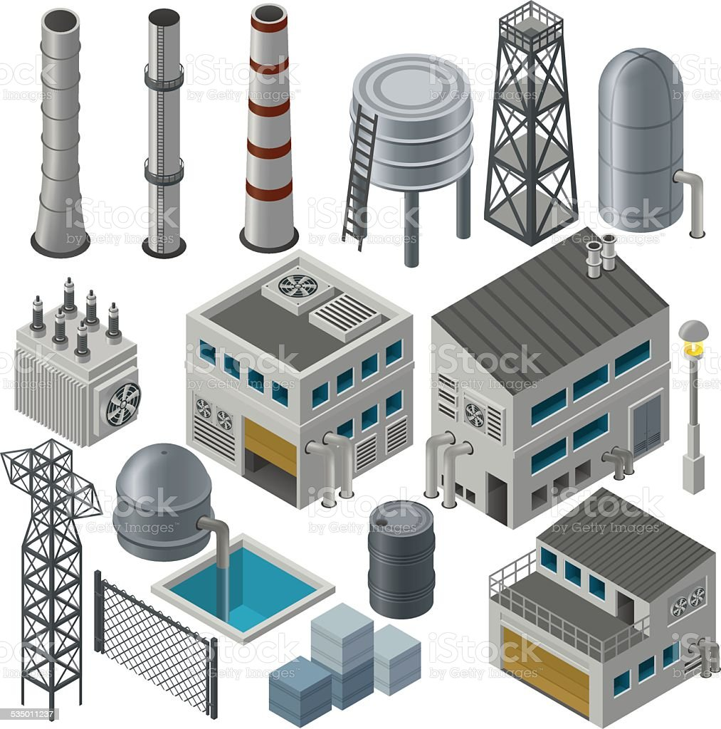 Isometric industrial buildings and other objects vector art illustration