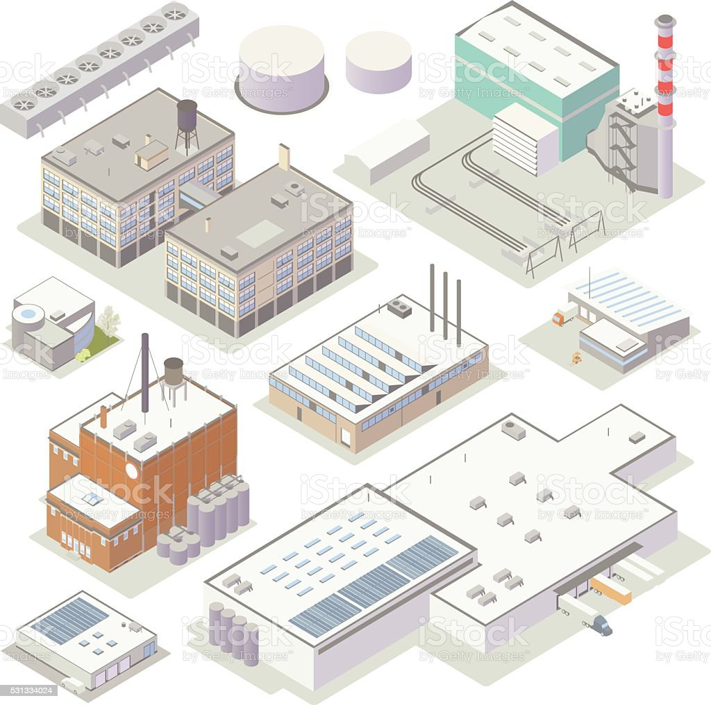Isometric Industrial Buildings vector art illustration