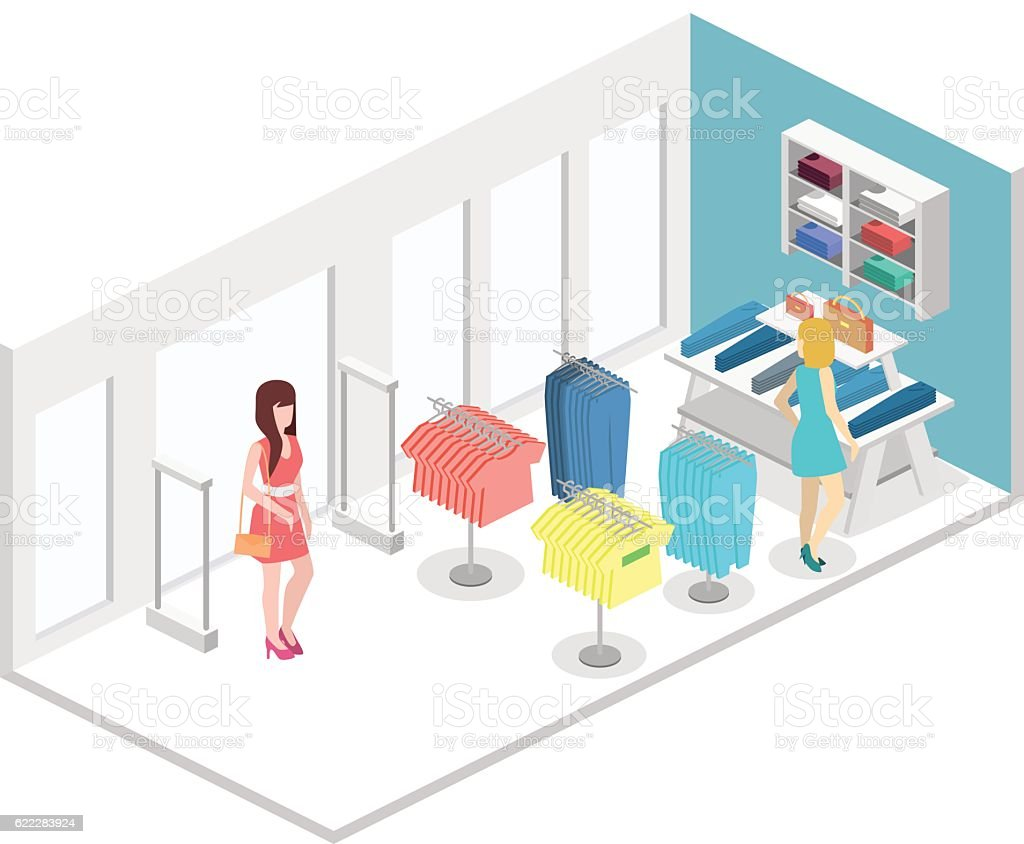 Isometric infographic flat 3D vector interior of clothing store inside. vector art illustration