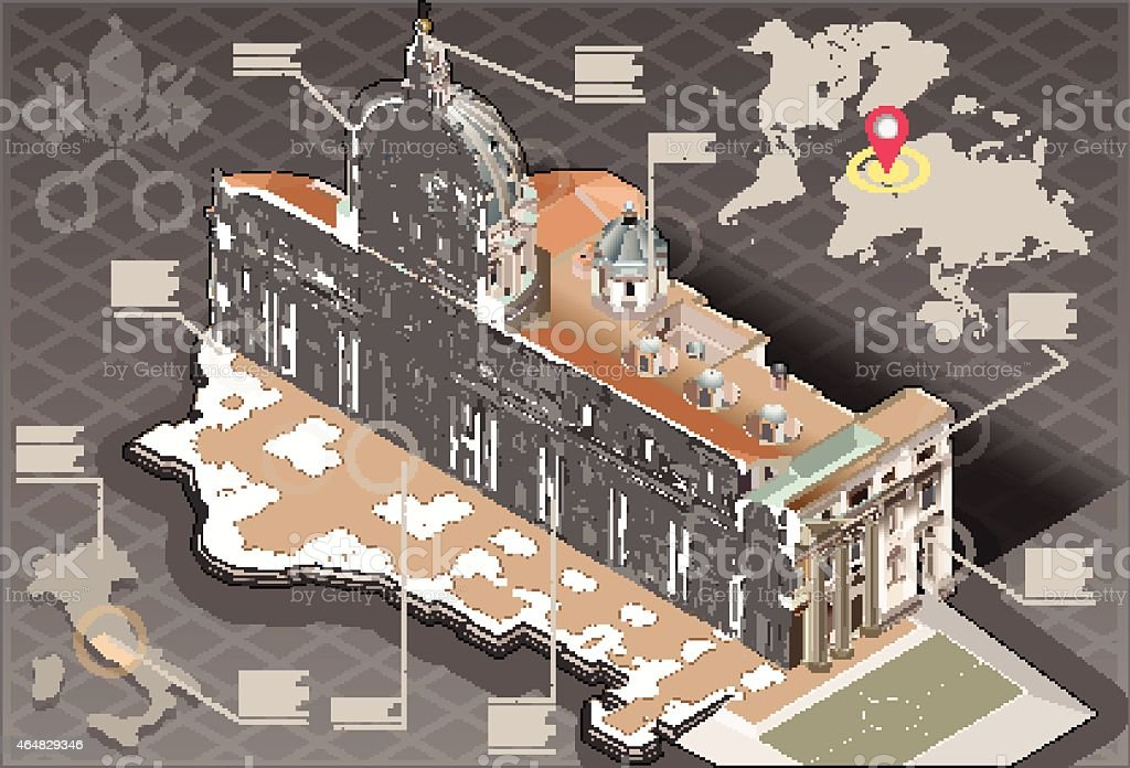 Isometric Infographic of Saint Peter in Rome Centre Section vector art illustration