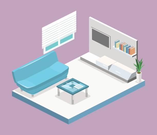 Flat 3D Illustration Vector Art Isometric Interior Of Modern Living Room