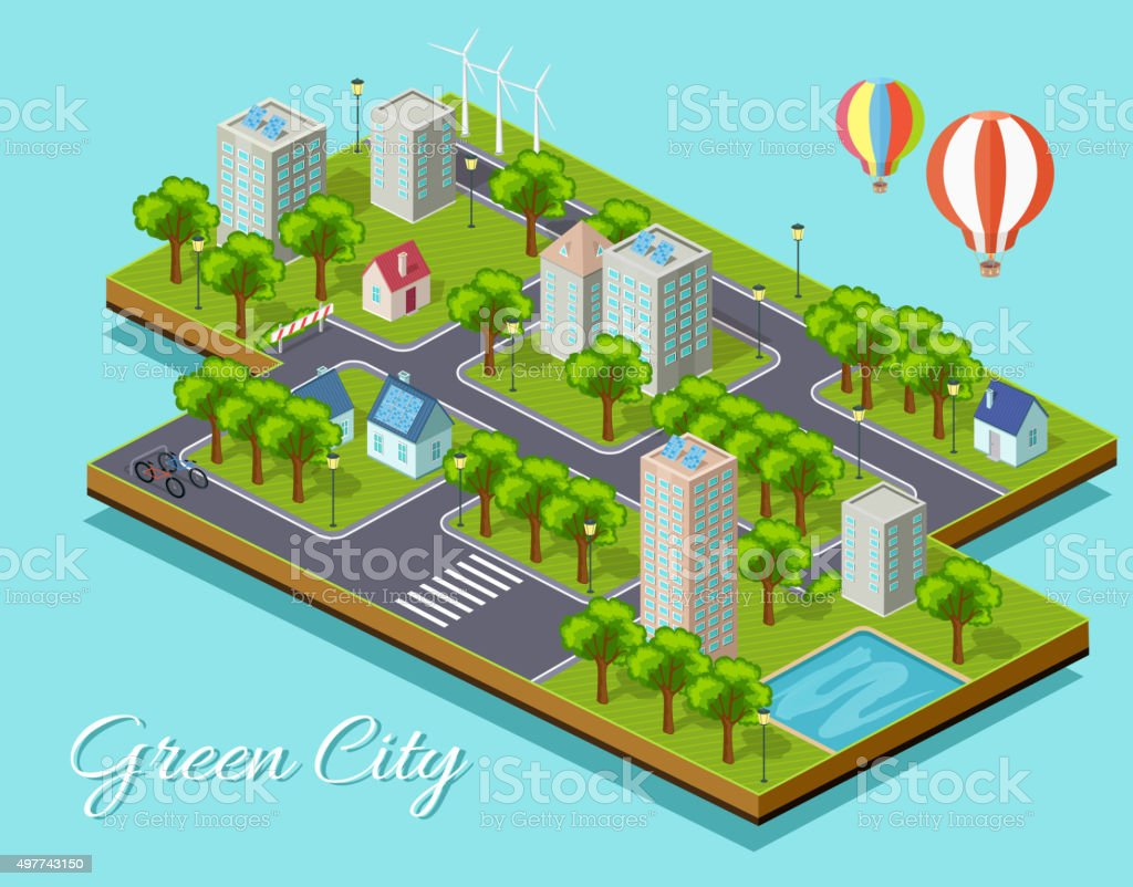 Isometric Isolated Green City Concept vector art illustration