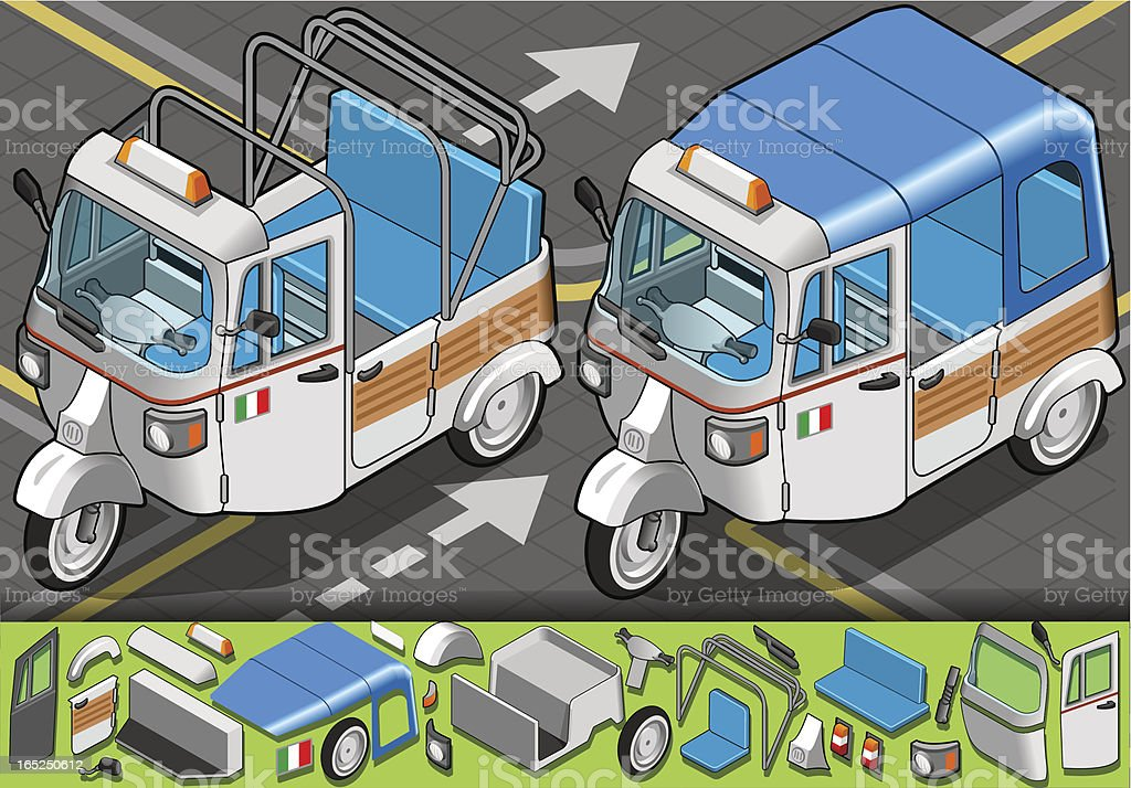Isometric Italian Rickshaw in front view royalty-free stock vector art