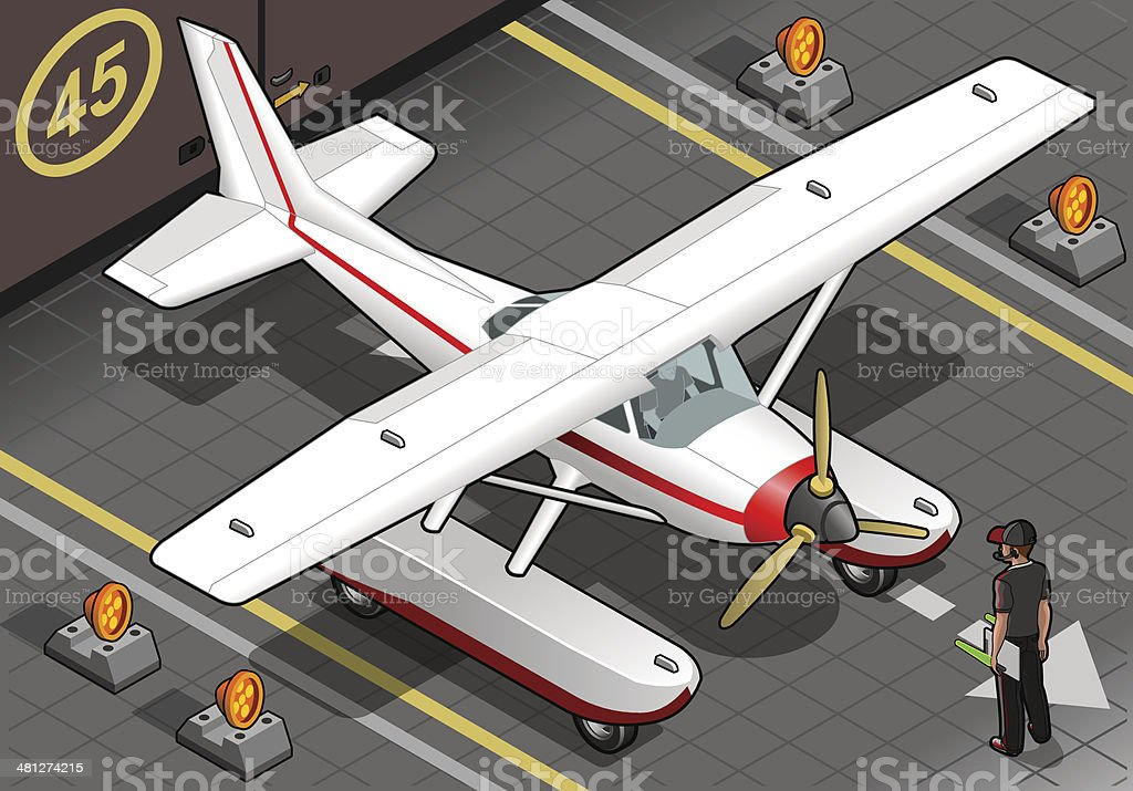 Isometric Landed Seaplane Out of Hangar vector art illustration