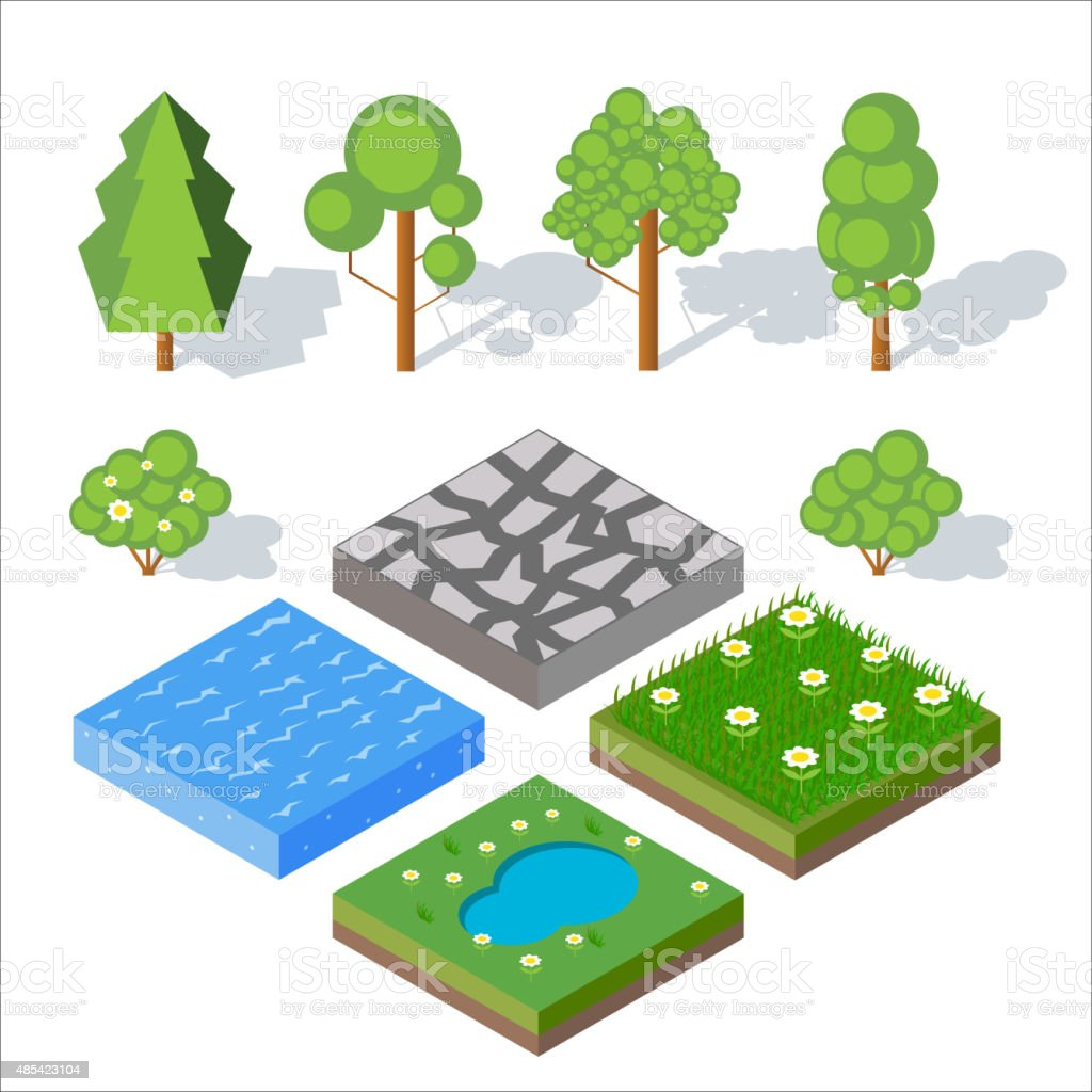 Isometric landscape elements. Bushes and trees, water, grass. Ve vector art illustration