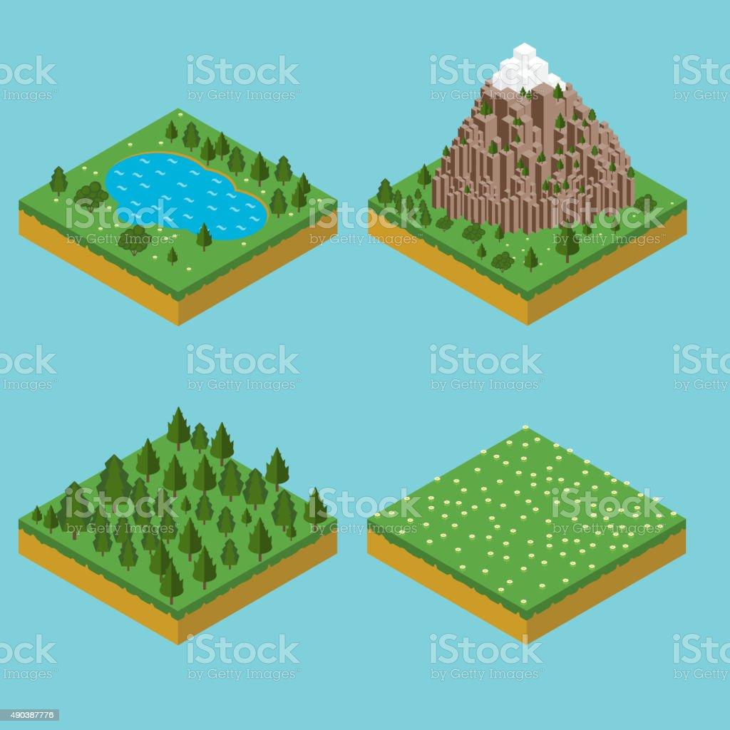 Isometric landscape seamles. Pre assembly isometric vector art illustration