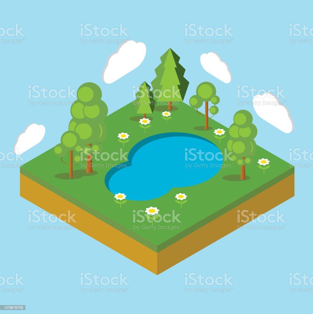 isometric landscape vector art illustration