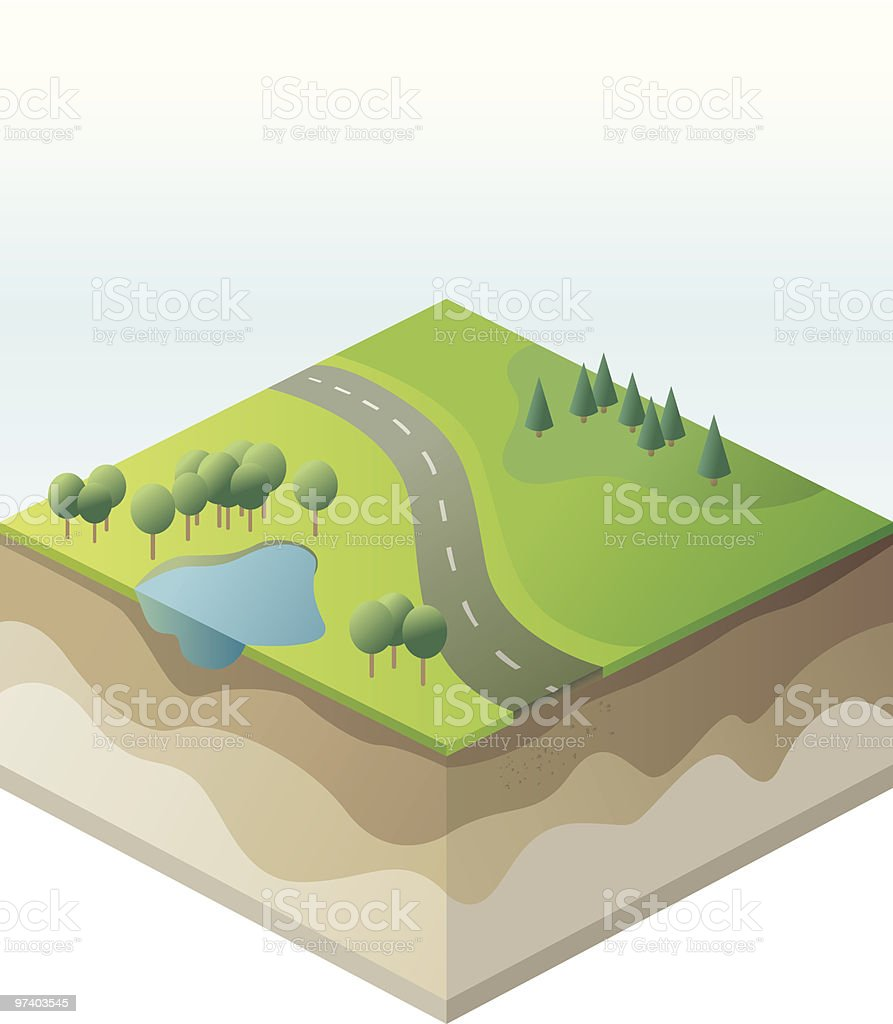 Isometric landscape royalty-free stock vector art
