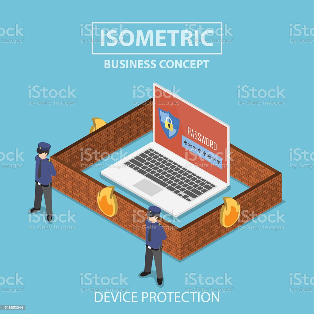 Isometric laptop computer protected by security system vector art illustration