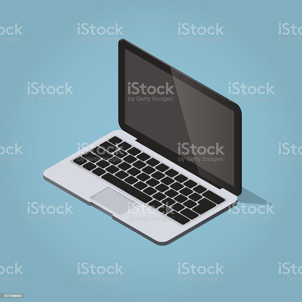 Isometric laptop vector art illustration