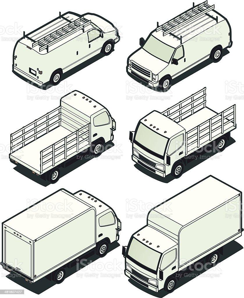 Isometric Light Trucks vector art illustration