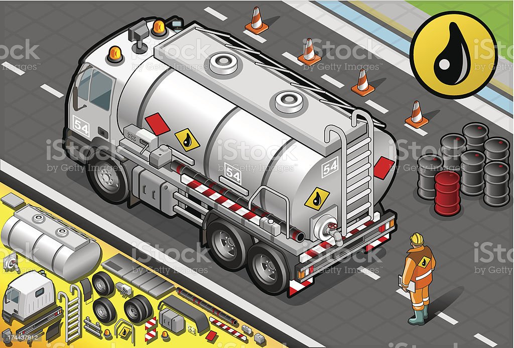 Isometric Liquid Tanker Truck in Rear View royalty-free stock vector art