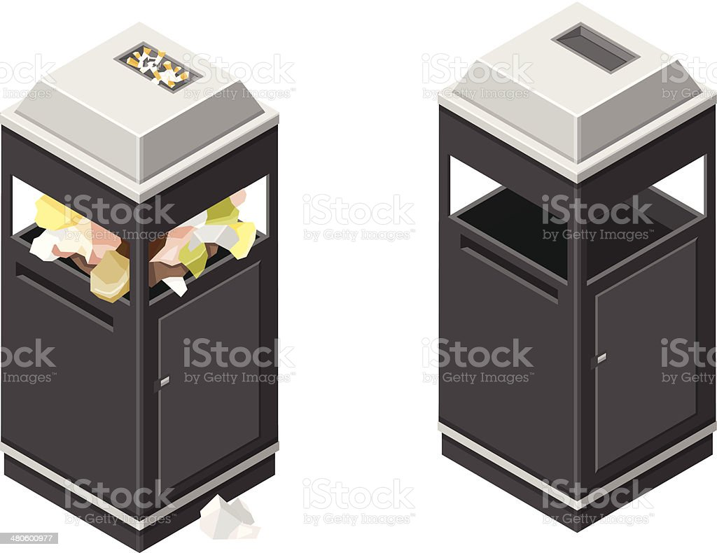 Isometric Litter Bin and Trash royalty-free stock vector art