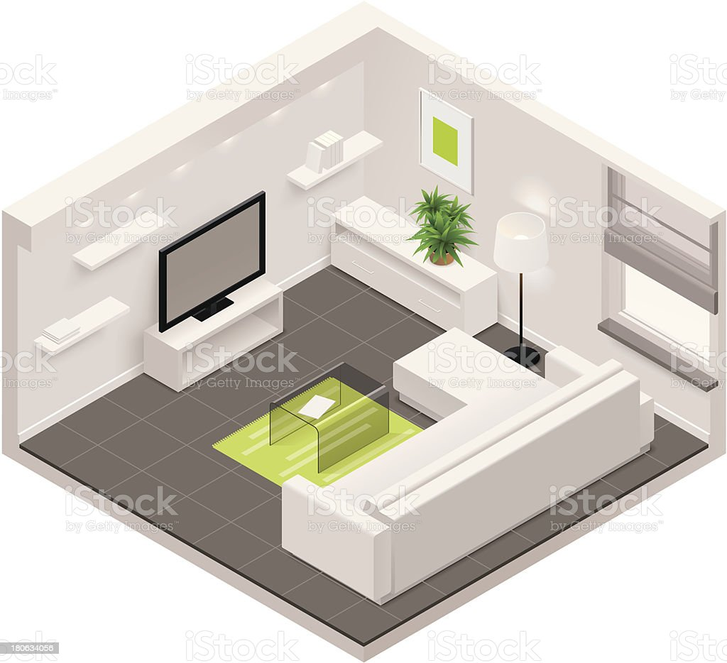 Isometric living room icon vector art illustration