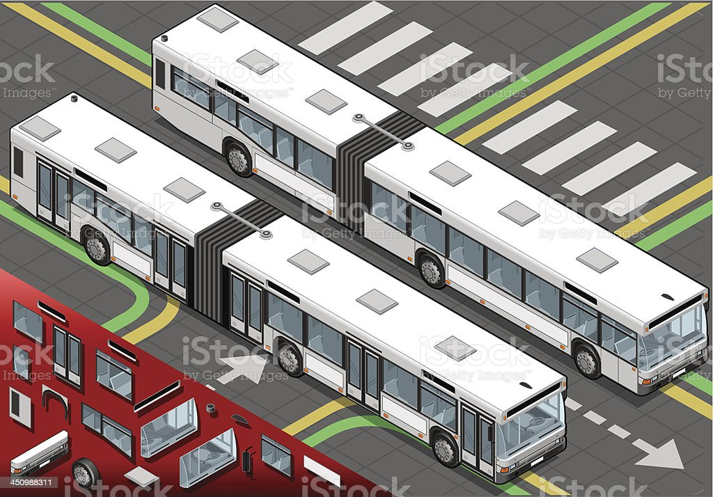 Isometric Long Bus in Front View royalty-free stock vector art