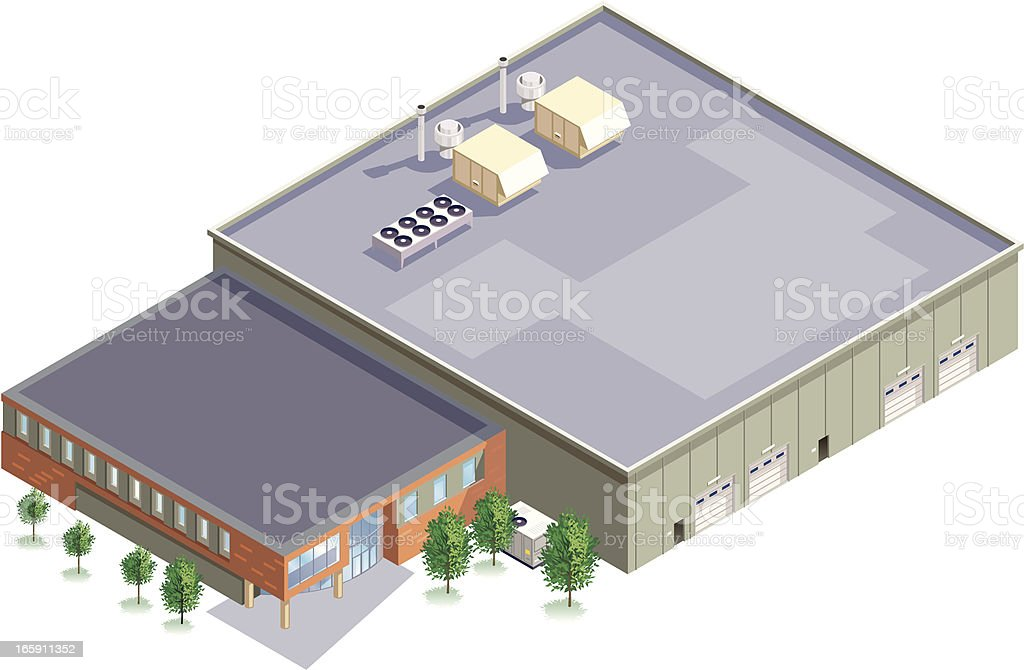 Isometric Manufacturing Plant royalty-free stock vector art