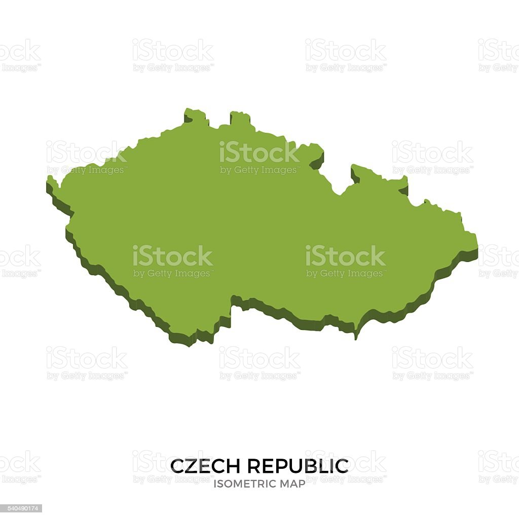 Isometric map of Czech Republic detailed vector illustration vector art illustration