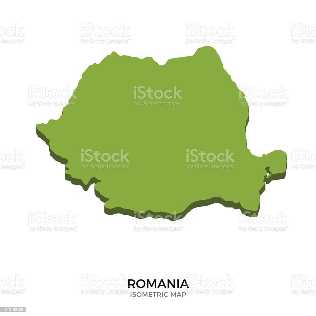 Isometric map of Romania detailed vector illustration vector art illustration