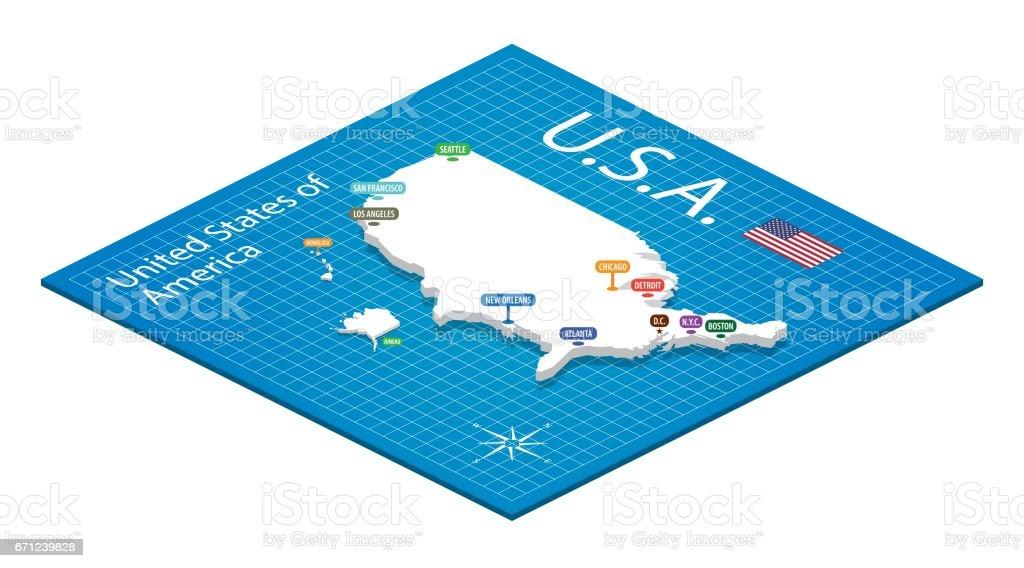 Isometric map of the USA - 3D Vector Illustration vector art illustration