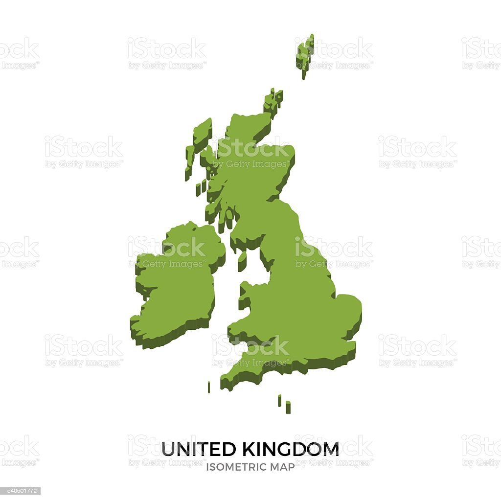 Isometric map of United Kingdom detailed vector illustration vector art illustration