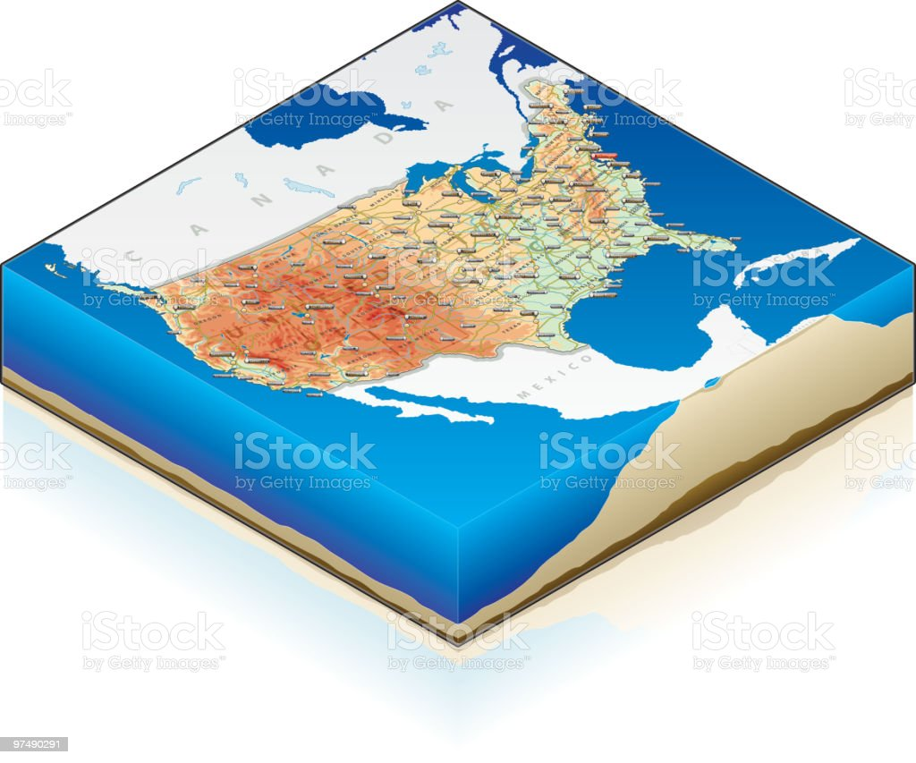 3D Isometric Map of USA royalty-free stock vector art