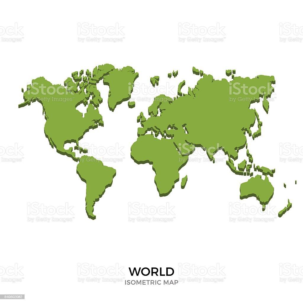 Isometric map of World detailed vector illustration vector art illustration