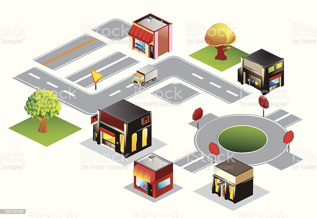 Isometric Map Pieces royalty-free stock vector art