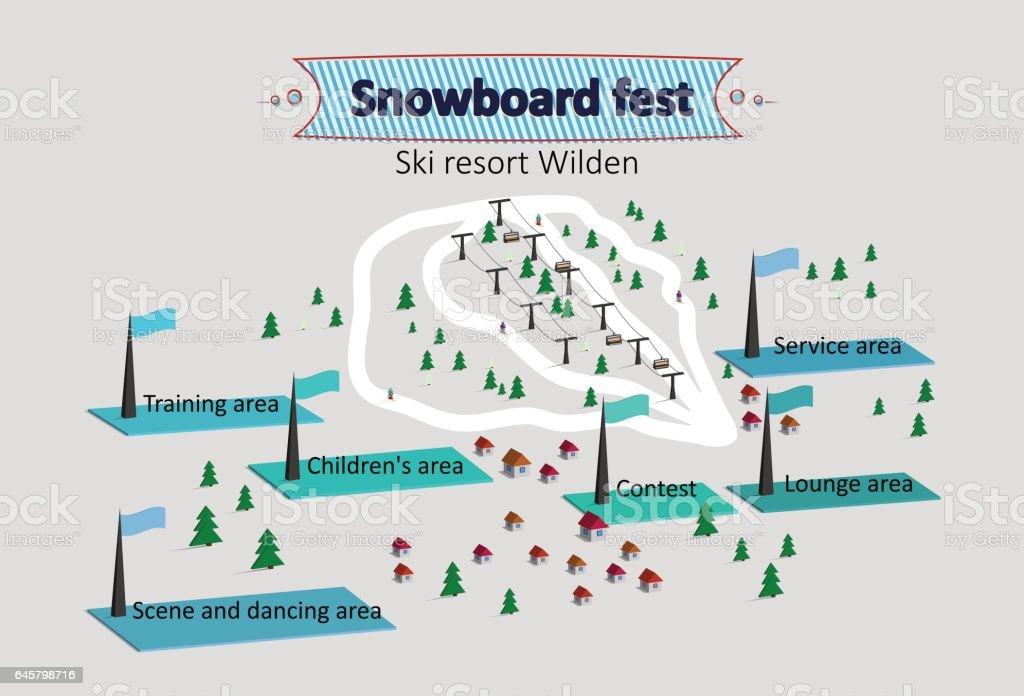 Isometric Map ski resort vector art illustration