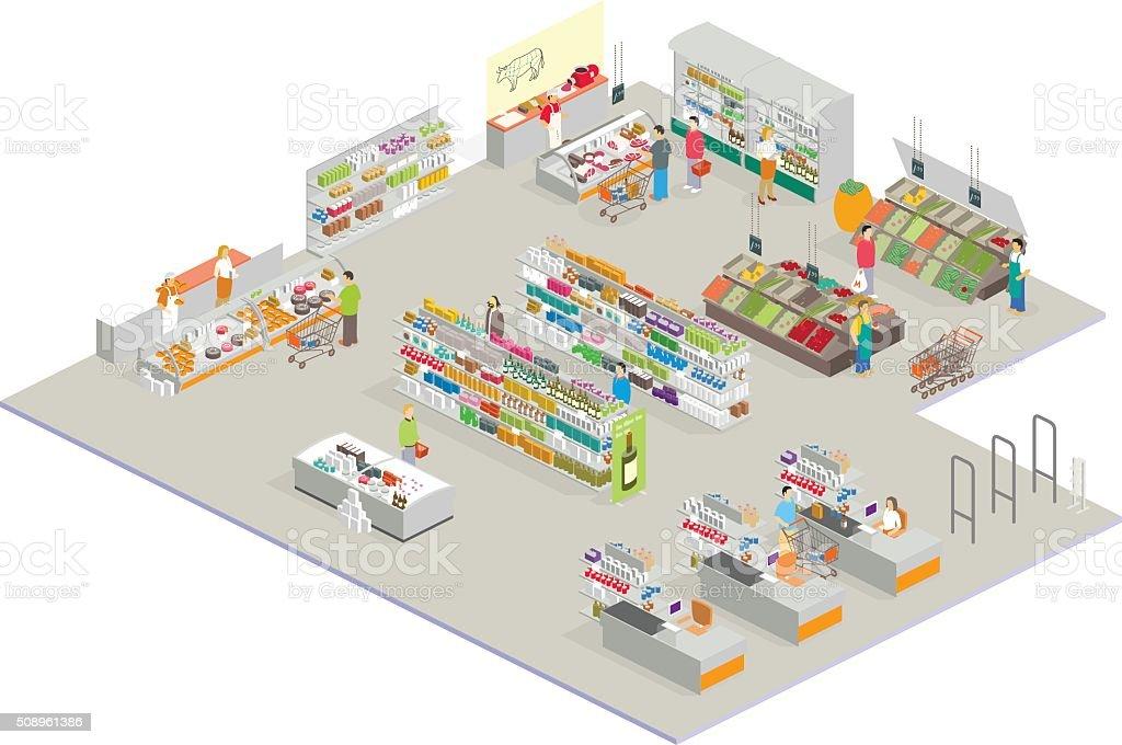 isometric market vector art illustration