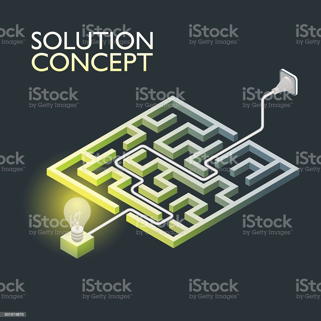 Isometric maze with electric light, labyrinth solution concept. vector art illustration