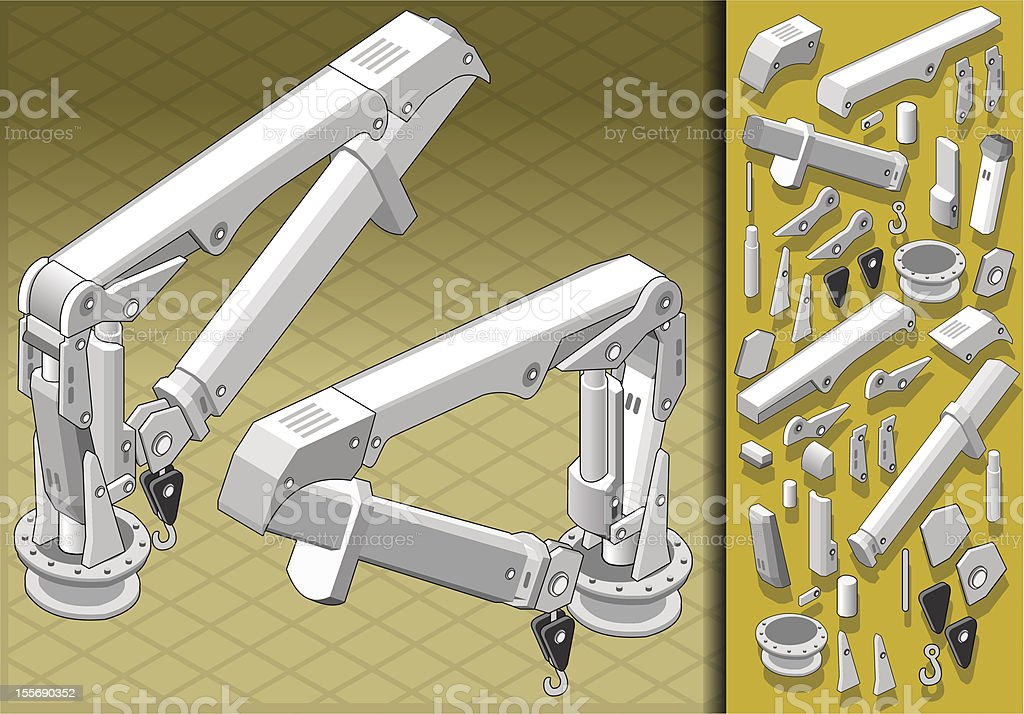 isometric mechanical arm in two positions royalty-free stock vector art