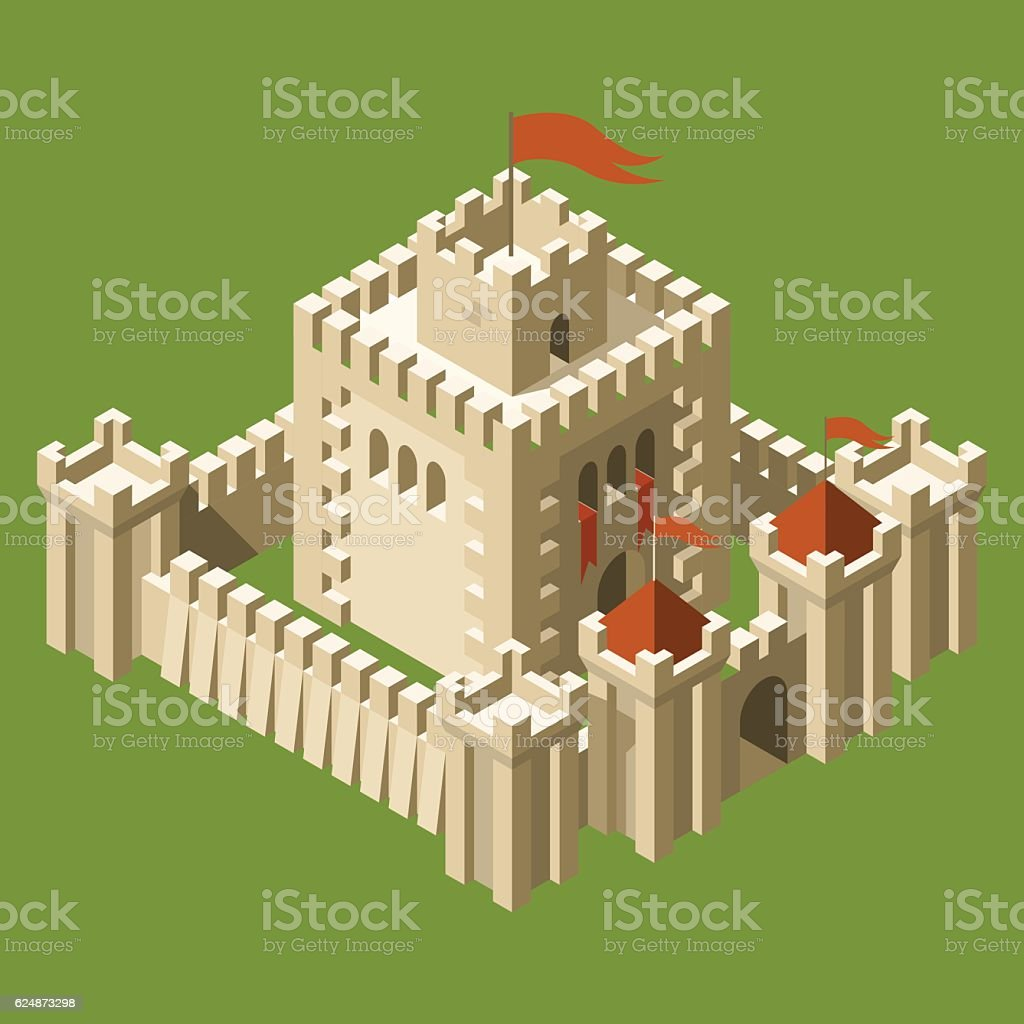 Isometric medieval castle with fortified wall and towers vector art illustration